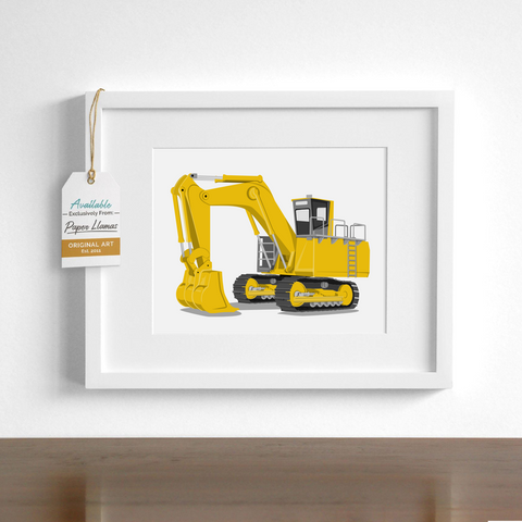Excavator  - baby nursery art from Paper Llamas