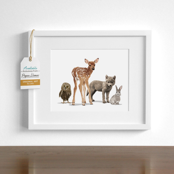 Fawn and Friends  - baby nursery art from Paper Llamas