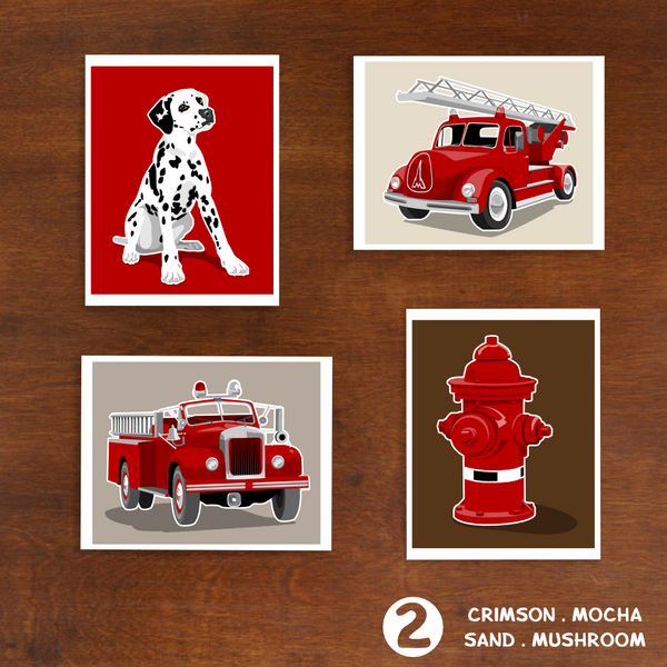 Fire Trucks - Set of 4  - baby nursery art from Paper Llamas