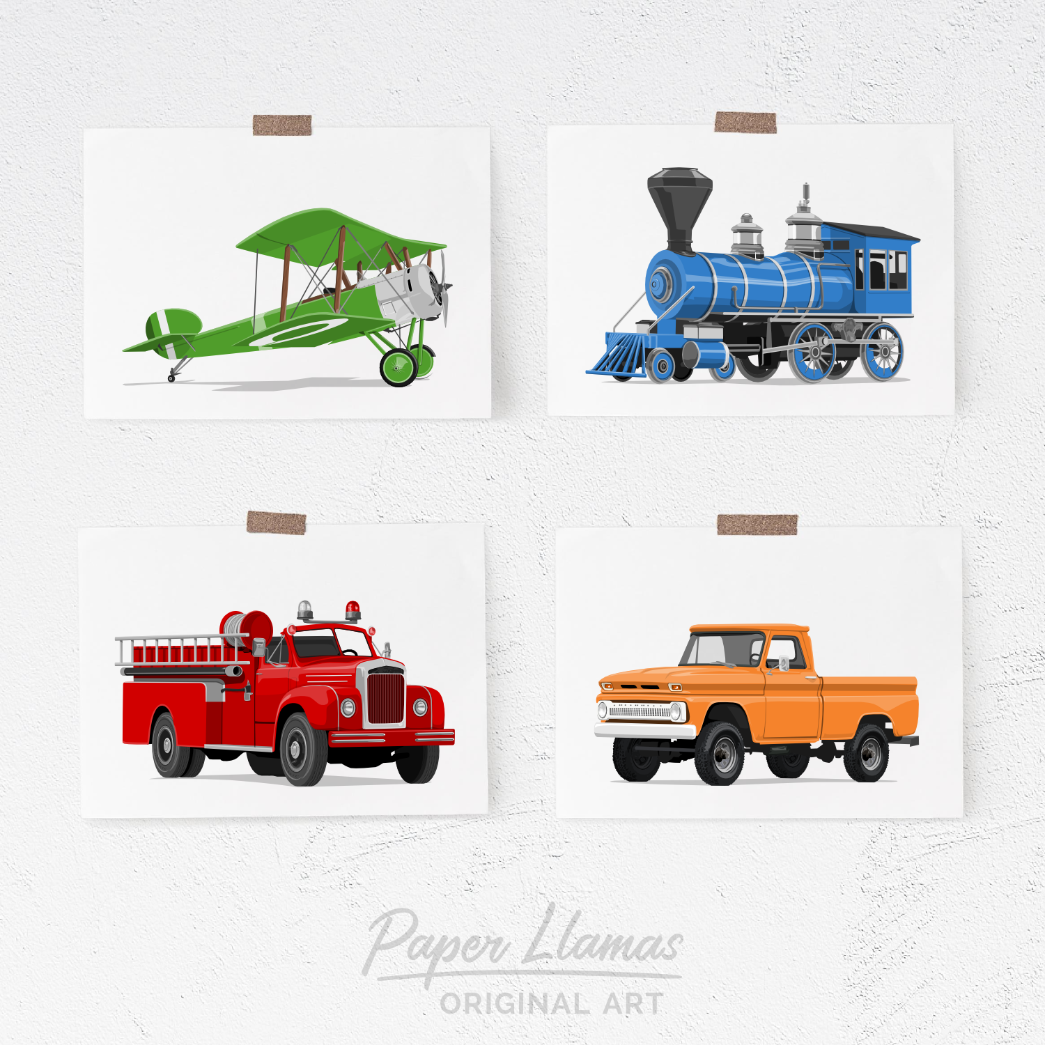 Transportation on White - Set of 4  - baby nursery art from Paper Llamas