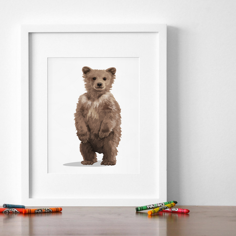 woodlnad forest Baby Bear Printable  - baby nursery art from Paper Llamas