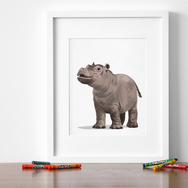 Baby Hippo Printable  - baby nursery art from Paper Llamas