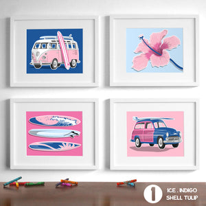 Surfer Girl - Set of 4  - baby nursery art from Paper Llamas