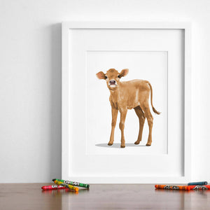 Farm animal Baby Cow  - baby cow art print from Paper Llamas