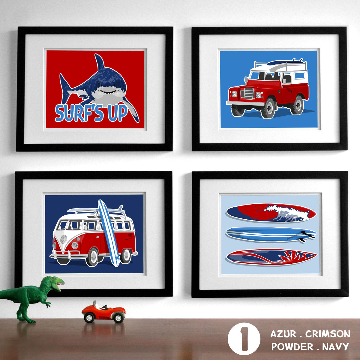 Surfer Boy - Set of 4  - baby nursery art from Paper Llamas