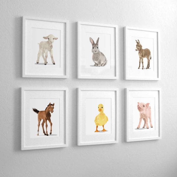 Baby lamb,bunny,donkey,horse,yellow duck,pig - baby farm nursery art from Paper Llamas