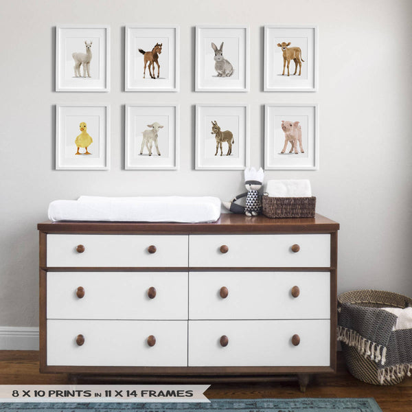 Baby farm animals llama,horse,bunny,cow,duck,lamb,donkey,pig  - baby nursery art from Paper Llamas