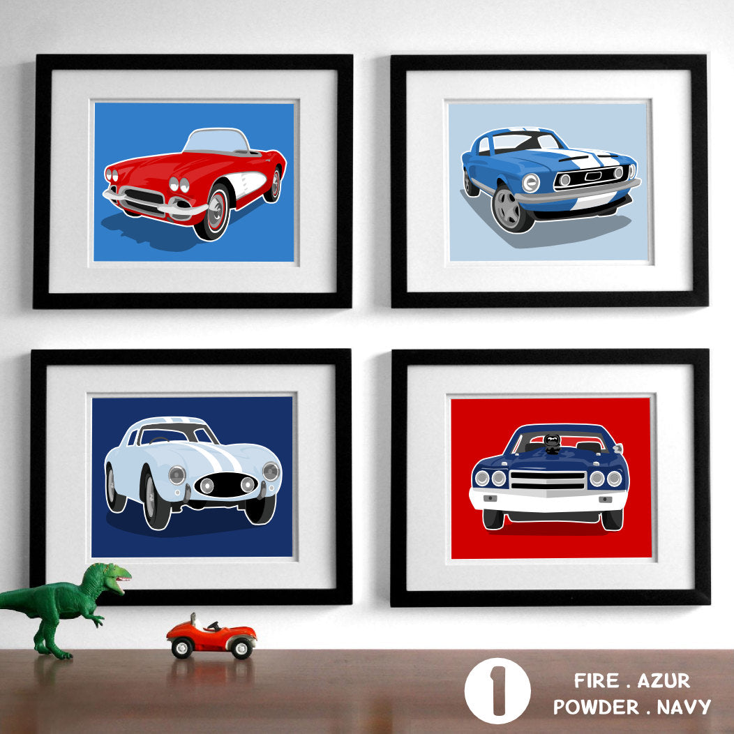 Sports Cars - Set of 4  - baby nursery art from Paper Llamas