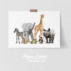 Safari Animal Parade Printable  - baby nursery art from Paper Llamas
