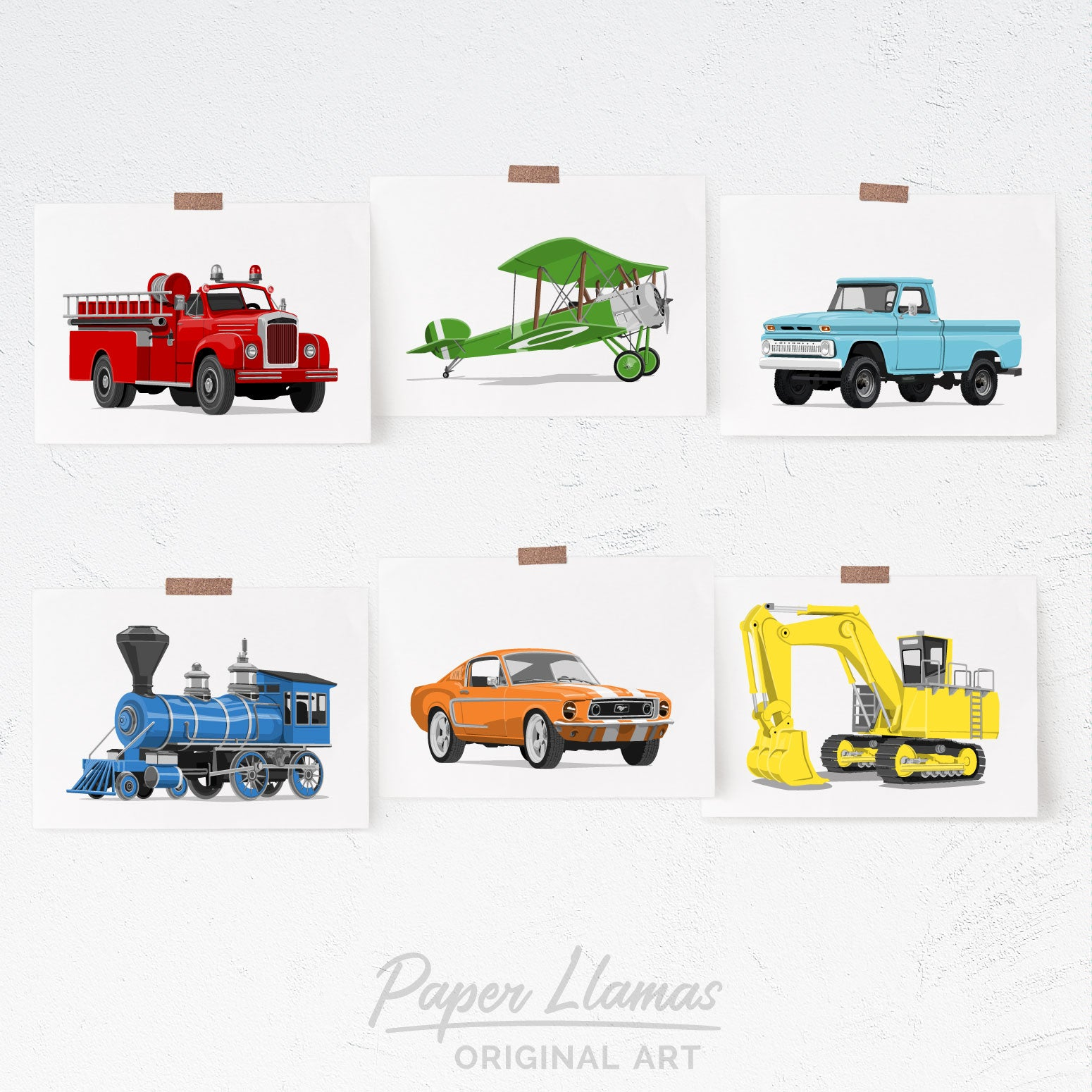 Transportation - set of 6  - baby nursery art from Paper Llamas