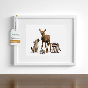 Moose and Friends  - baby nursery art from Paper Llamas