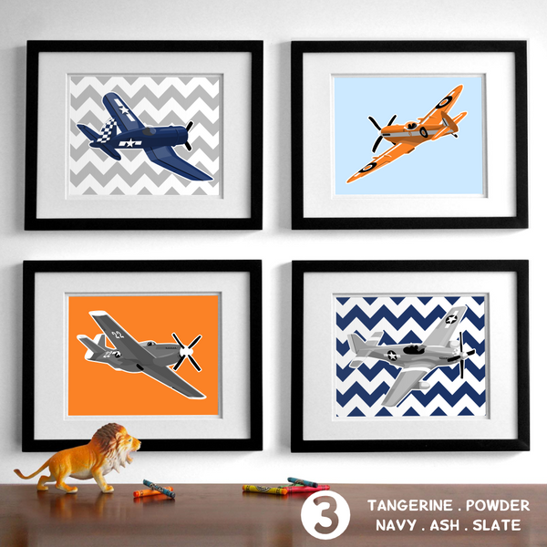 Jet Planes - Set of 4  - baby nursery art from Paper Llamas