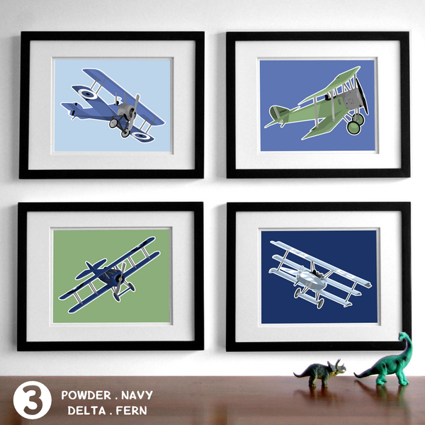 Biplanes - Set of 4  - baby nursery art from Paper Llamas