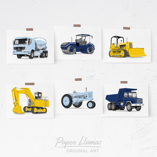 Construction - Set of 6  - baby nursery art from Paper Llamas