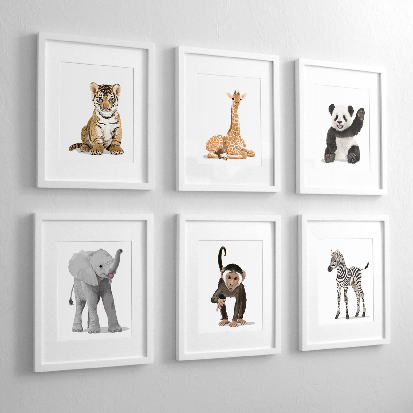 Baby Animals - Set of 6  - baby nursery art from Paper Llamas