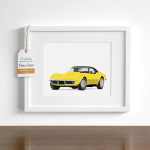 Yellow Stingray Corvette - baby nursery print from Paper Llamas