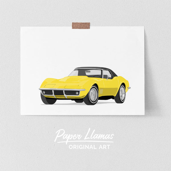 Yellow Stingray Corvette Printable  - baby nursery art from Paper Llamas