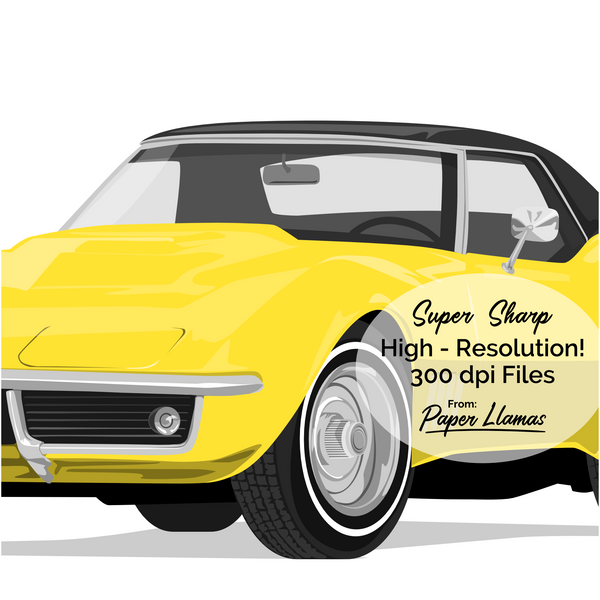 Yellow Corvette Printable  - baby nursery artwork from Paper Llamas