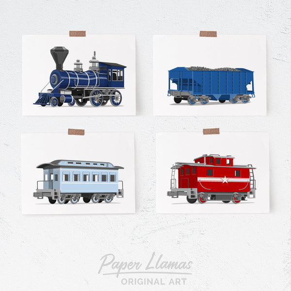 Trains - Set of 4  - baby nursery art from Paper Llamas
