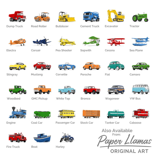 GMC Pickup Printable  - baby nursery art from Paper Llamas
