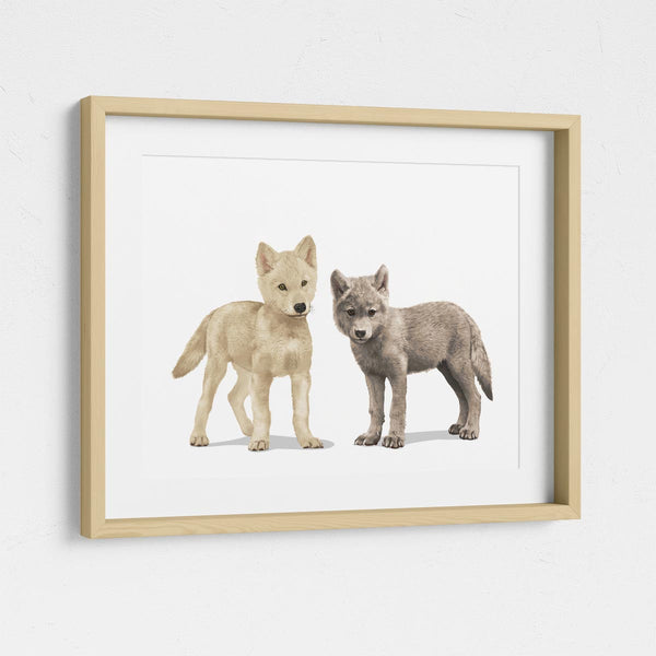 Pair of wolf cubs  - baby nursery art from Paper Llamas
