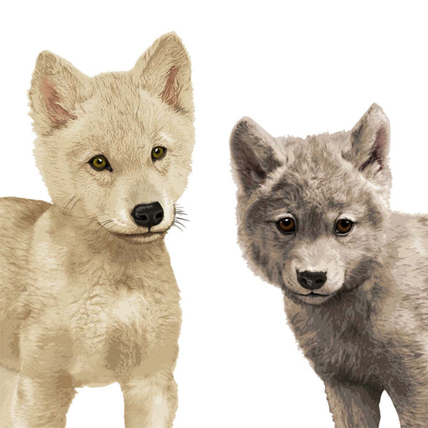 Pair of wolf cubs Printable  - baby nursery art from Paper Llamas