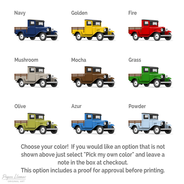 Wood Bed Truck  - baby nursery art from Paper Llamas