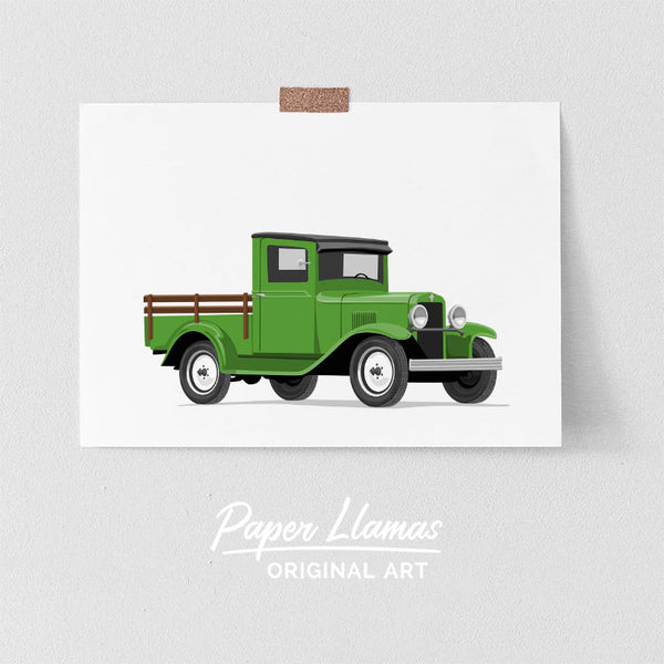 Woodbed Truck Printable  - baby nursery art from Paper Llamas