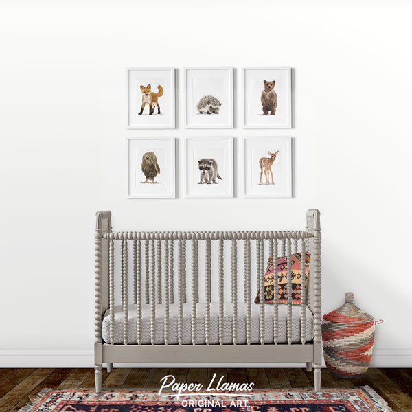 forest baby aniamls foxhedgehog,bear,owl,racoon,fawn  -  art print from Paper Llamas