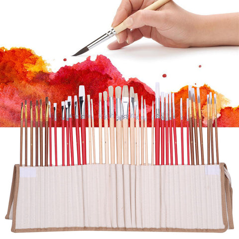 38Pcs Artists Paint Brushes Art Set For Acrylic Oil Watercolor 3 Style Portable