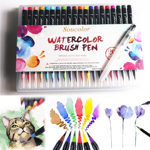 2018 Watercolor Brush Pens - 20 Piece Set