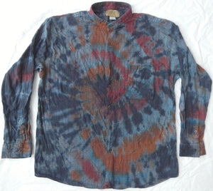 75196da95248 Banded Collar Black Tie Dye Long Sleeve Button Down Shirt - XL Mens  Psychedelic