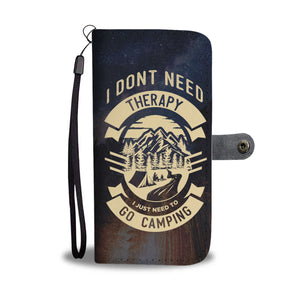 I Don't Need Therapy I Just Need To Go Camping Night View - Wallet Phone Case