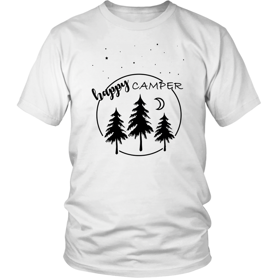Happy Camper White Unisex Cotton - Tee