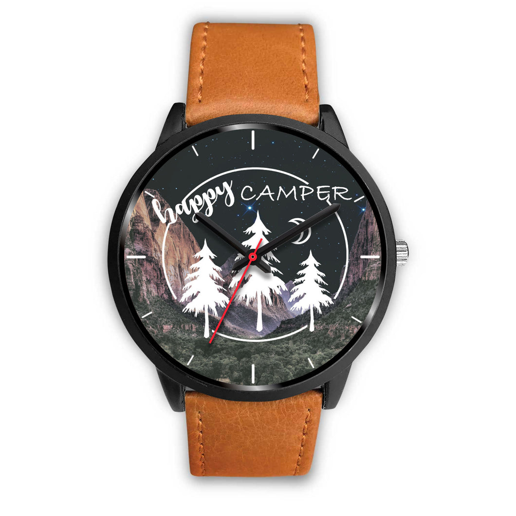 Happy Camper Black Alloy Body Brown Leather Band - Watch
