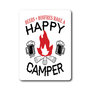 Beers And Bonfires Make a Happy Camper - Die Cut Vinyl Sticker
