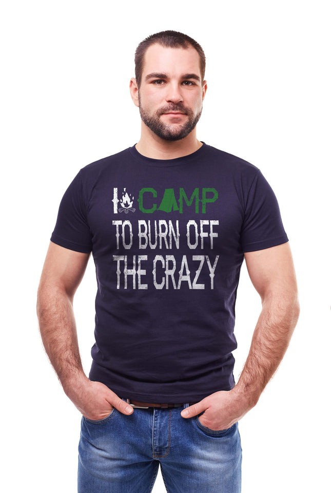 Man wearing the I camp to burn off the crazy navy blue T-shirt