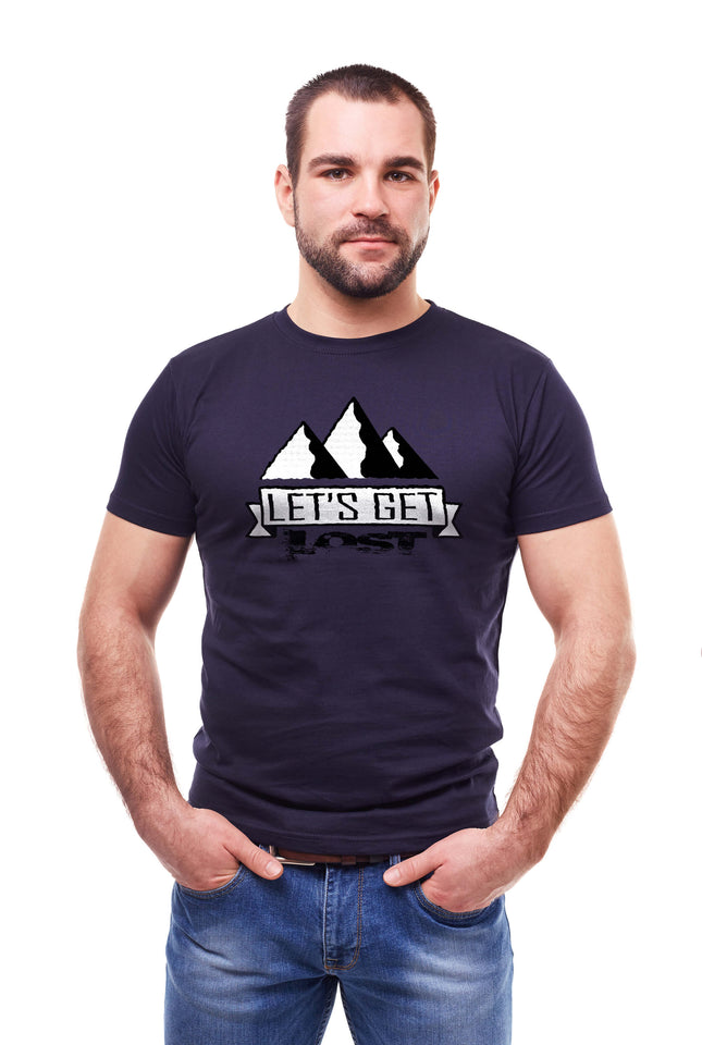 Man Wearing a Navy Let's Get Lost T-shirt