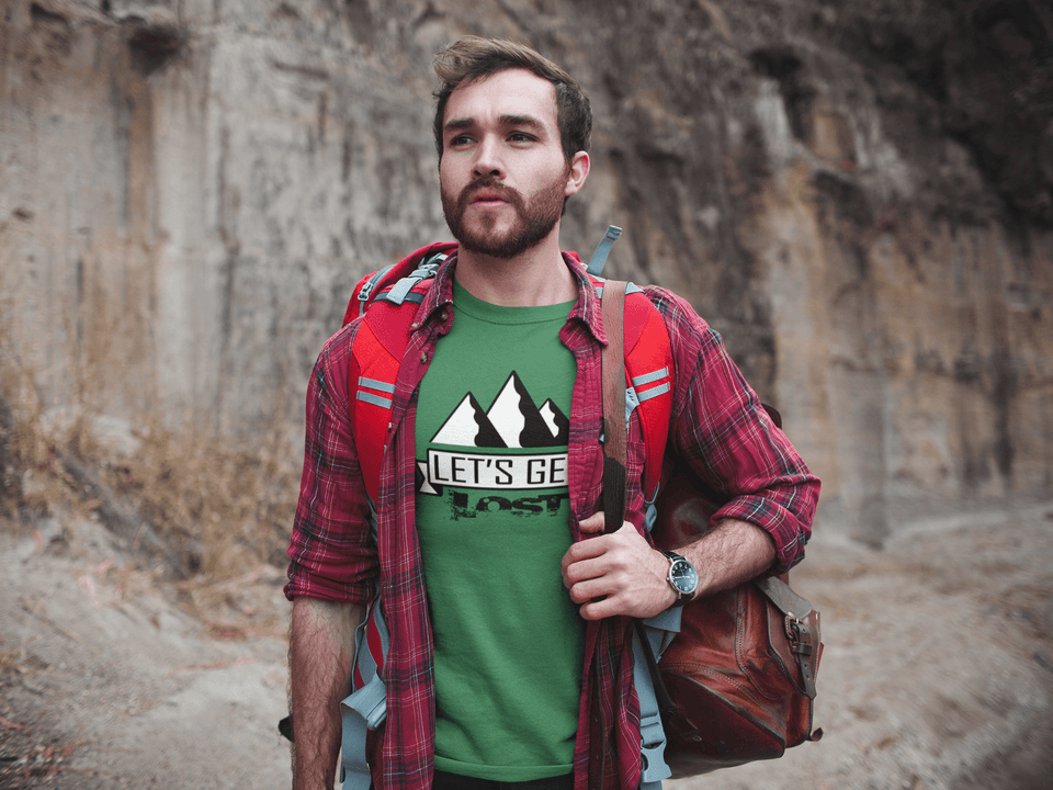 Man Wearing a Green Let's Get Lost T-shirt