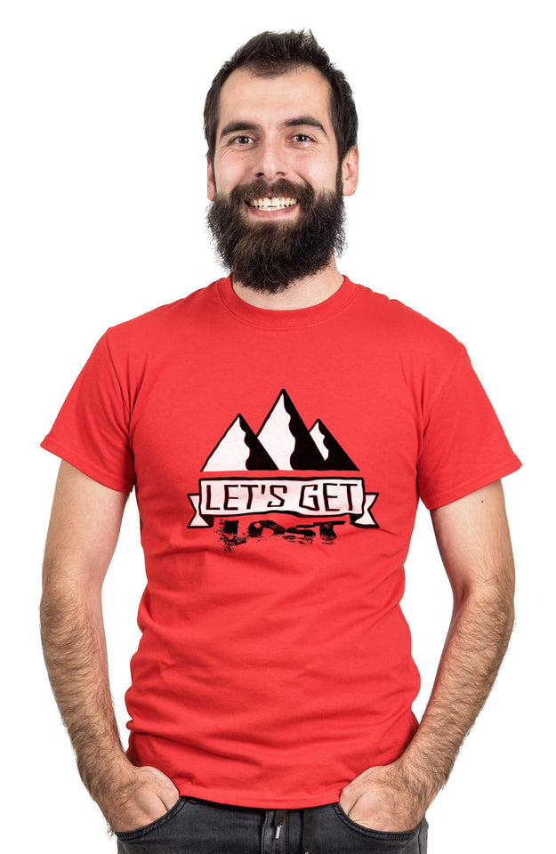 Man Wearing a Red Let's Get Lost T-shirt