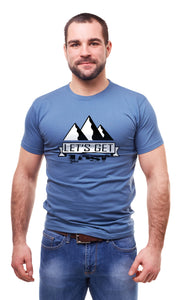 Man Wearing a Royal Blue Let's Get Lost T-shirt