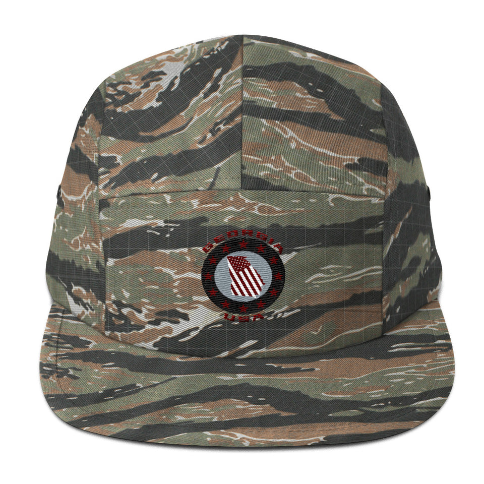 Georgia USA Patch - Green Tiger Camo Five Panel Cap