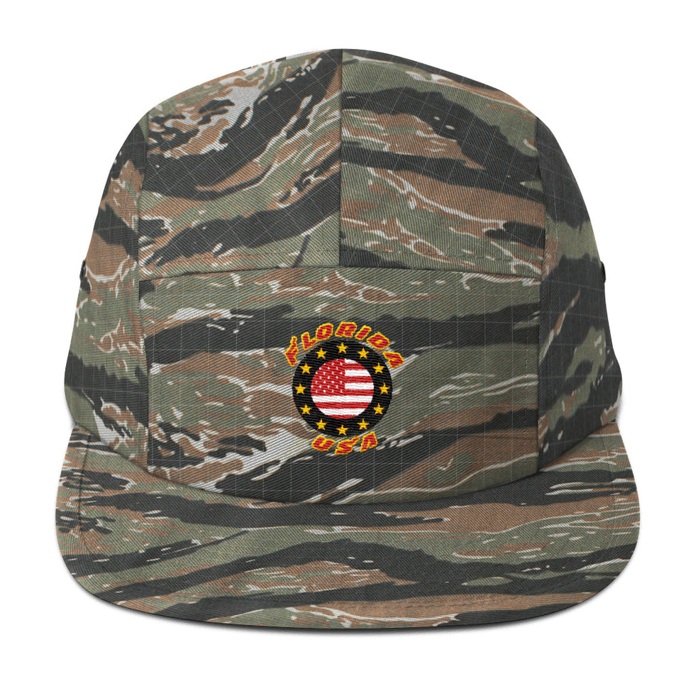 Florida USA Stars Patch - 5Panel Green Tiger Camo Cap