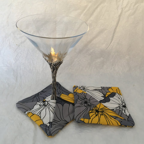 Grey and Yellow Floral Drink Coaster Pair