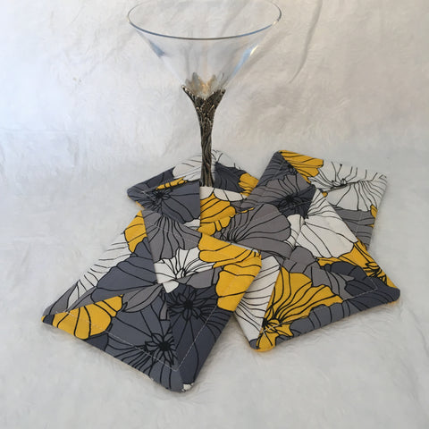 Grey and Yellow Floral Drink Coaster Set of 4
