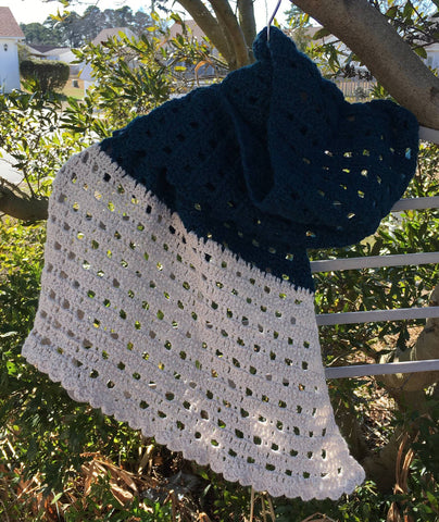 Dark Aqua Sideways Pebble Shawl