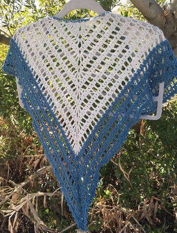 Ecru and Blue Lydia Shawl