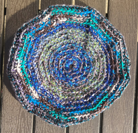 Blue/Grey Crochet Beach Frisbee