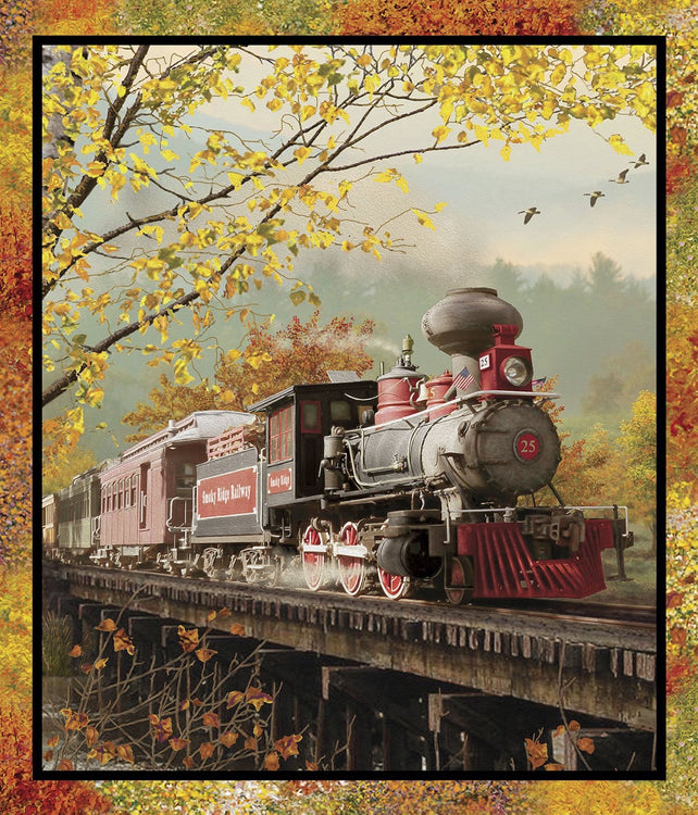 "AUTUMN STEAM Large Panel Train 42""x36"""