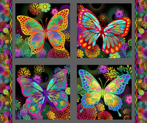 "UNUSUAL GARDEN II Butterfly 1/2 Panel-the top two 16"" butterfly squares"